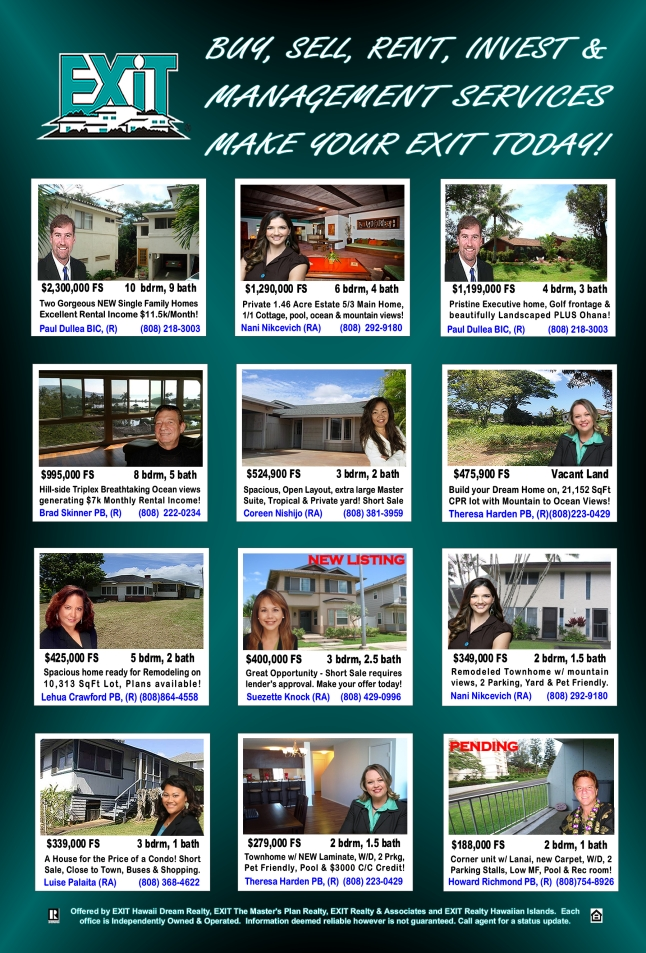 EXIT Realty Hawaii Featured Oahu Properties For Sale