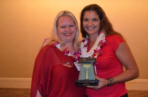 EXIT Hawaii Dream Realty Principal Broker, Theresa Harden (B), and 2012 Honolulu Board of REALTORS® Aloha 'Aina Award recipient, Nani Nikcevich (S).