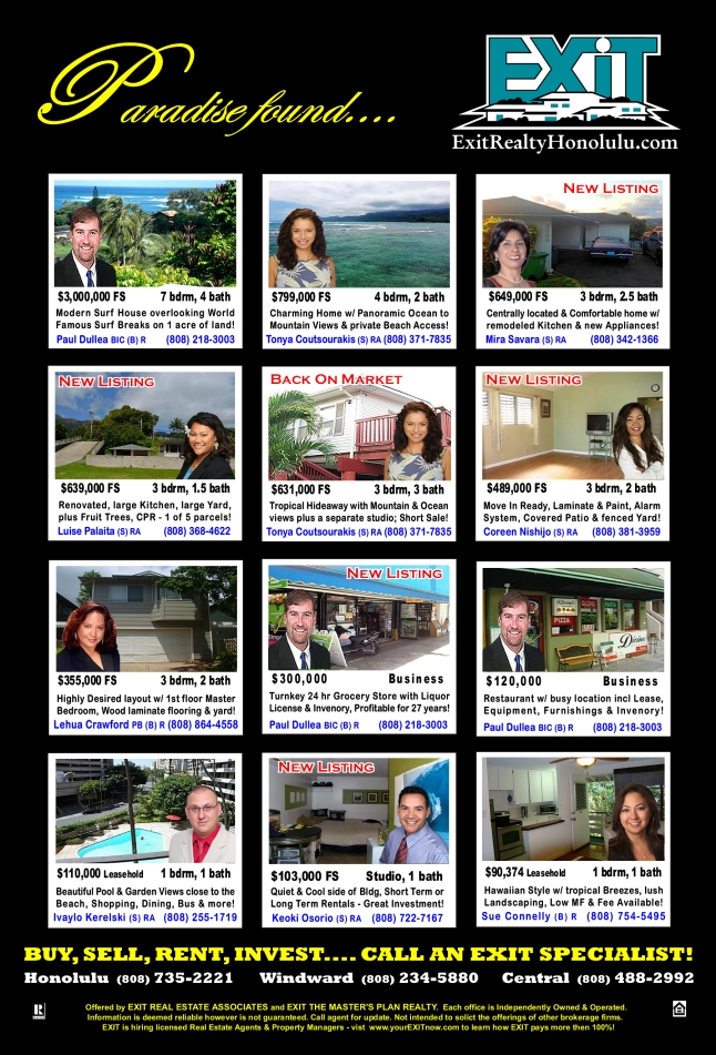 EXIT Realty June 2013 Hawaii Featured Oahu Homes For Sale