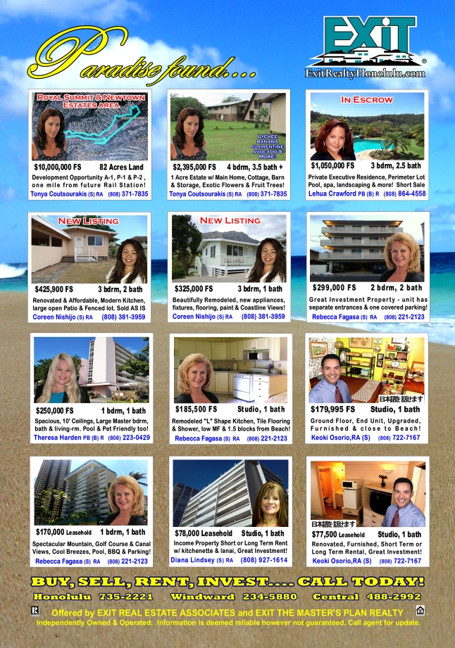 EXIT Realty May 2014 Hawaii Featured Oahu Homes For Sale