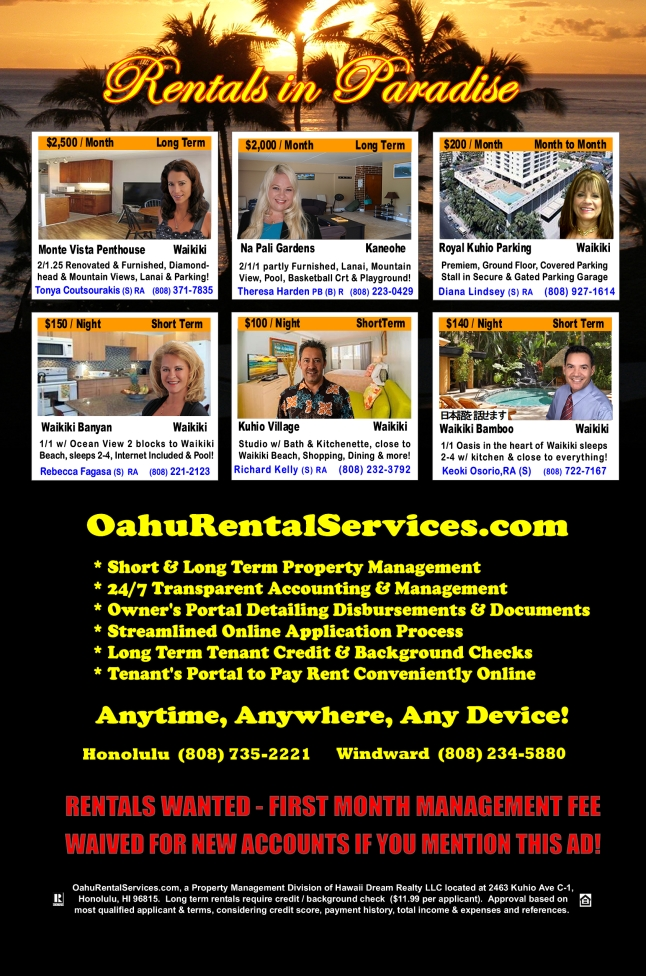 OahuRentalServices.com May 2014 Featured Homes For Rent