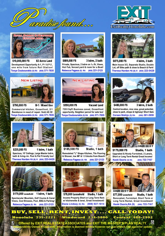 EXIT Realty July 2014 Hawaii Featured Oahu Homes For Sale