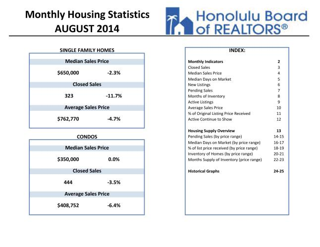 Click Here for PDF Version of the Honolulu Board of Realtors August 2014 Housing Statistics