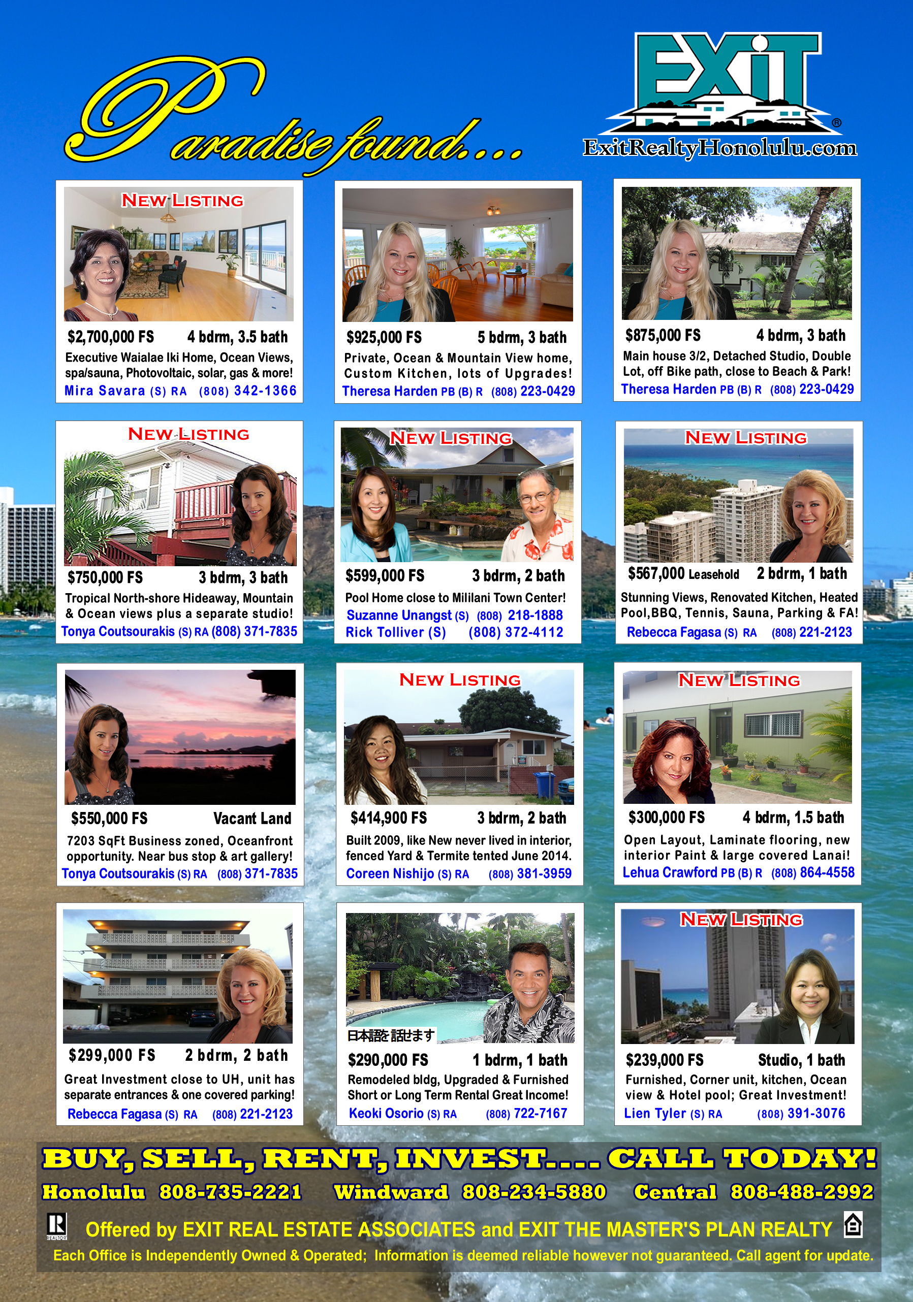 EXIT Realty November 2014 Hawaii Featured Oahu Homes For Sale