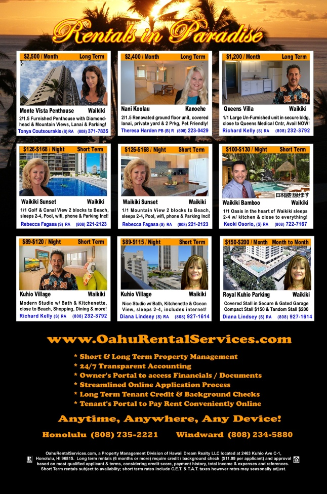 November 2014 Back Cover for The Oahu Hawaii Rental Book