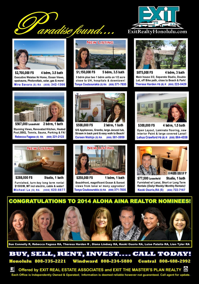 EXIT Realty December 2014 Hawaii Featured Oahu Homes For Sale