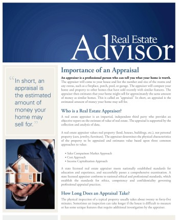 Click Here for Real Estate Advisor Appraisals Newsletter