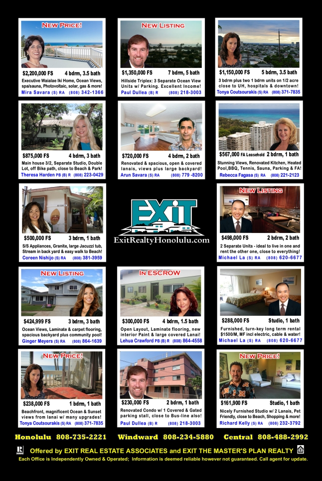 EXIT Realty February 2015 Hawaii Featured Oahu Homes For Sale