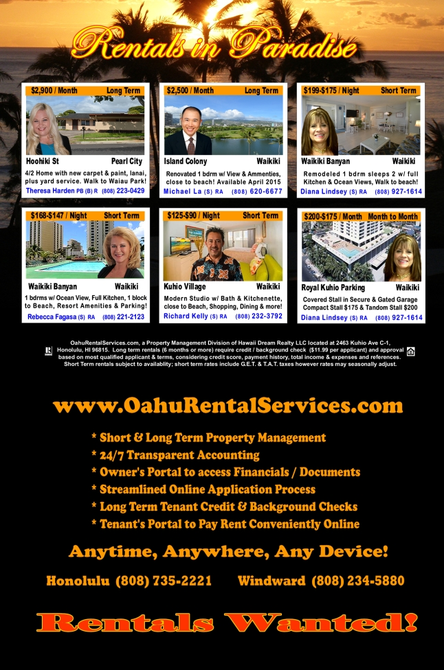 OahuRentalServices.com February 2015 Featured Homes For Rent