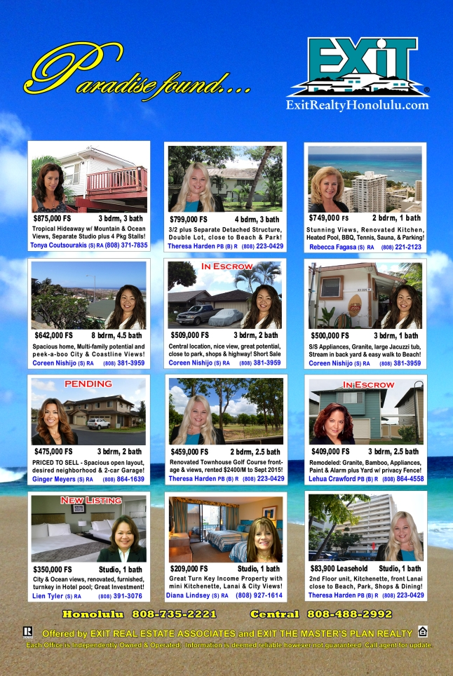 EXIT Realty November 2015 Hawaii Featured Oahu Homes For Sale
