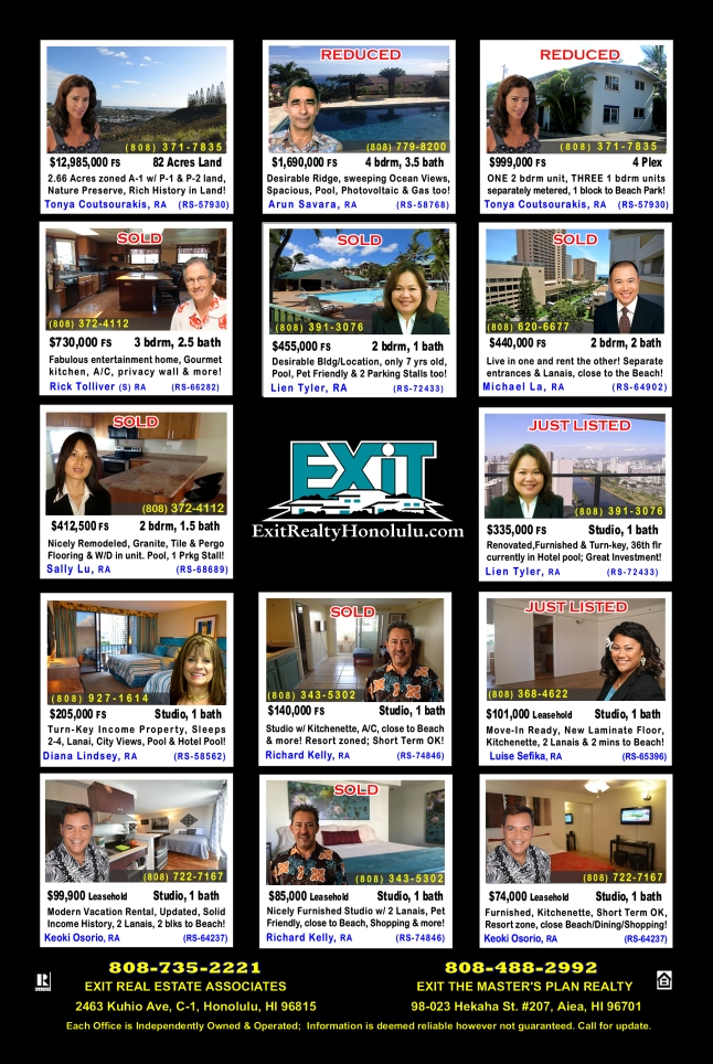 January 2016 Hawaii Featured Oahu Homes For Sale