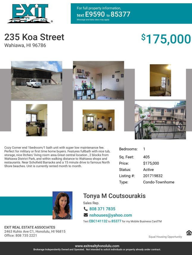 Click Here for Virtual Tour of 235 Koa Street