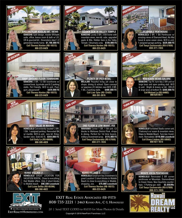 September 2018 Hawaii Featured Oahu Real Estate For Sale