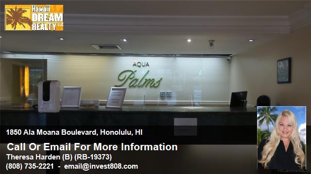 1850 Ala Moana Blvd. Aqua Palms Waikiki Condotel Investment For Sale